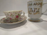 Lefton Teacup and Saucer and 50th Cup