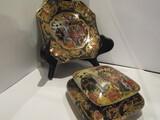 Royal Satsuma Plate and Trinket Box, Handpainted
