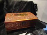 Antique/Vintage Carved Cedar Wood Hinged Jewelry/Trinket Box with Lock, 11