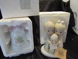 Lot of 2, Precious Moments Porcelain Christmas Bell and Figurine