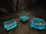 Lot of 3, Vintage Blue Salt Cellars, Metal Holder marked EPNS