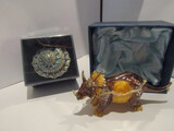 Jeweled Dino and Conch Seashell Trinket Boxes