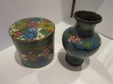 Old Asian Enamel Trinket Box and Vase