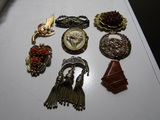 Lot of 8 Antique/Vintage Collar, Clip, Brooch, Pin