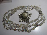 Vintage Triple Strand Necklace and Rhinestone Brooch
