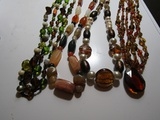 Lot of 3 Glass Art Necklace and 1 Stone Necklace