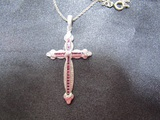 Sterling Chain and Pendent, Cross with Red Stones
