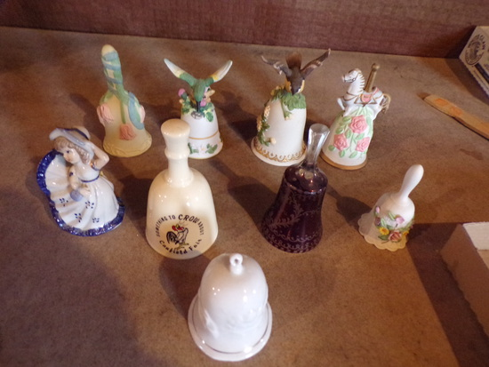 Lot of 8 bells and 1 music box