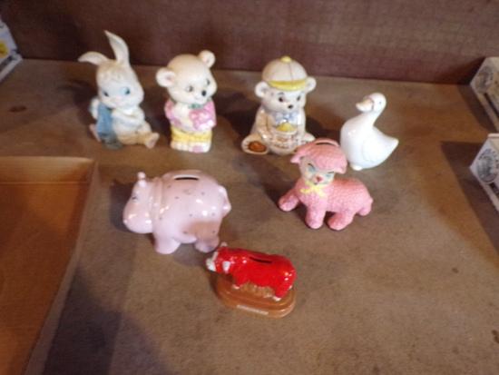 Lot of 7 Ceramic banks