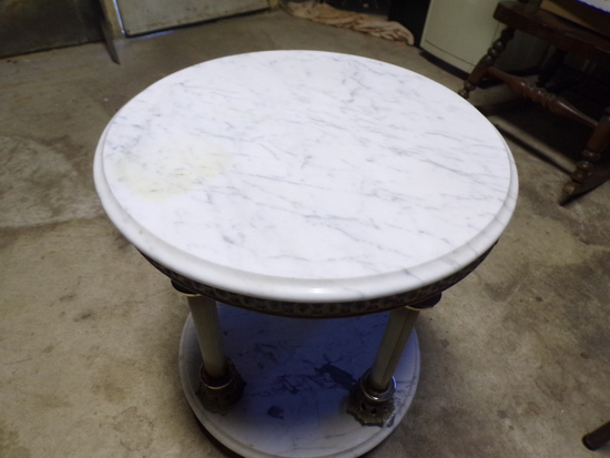 Round Marble Table marked ITALY