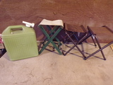 3 Fishing Chairs and 5 Gallon Water Jug