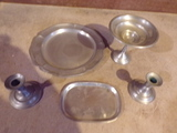 Pewter Candle holders and Tray