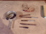 Vintage-Sifter, Knives and Water Bottle