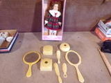 Vintage cosmetic containers and Porcelain Doll