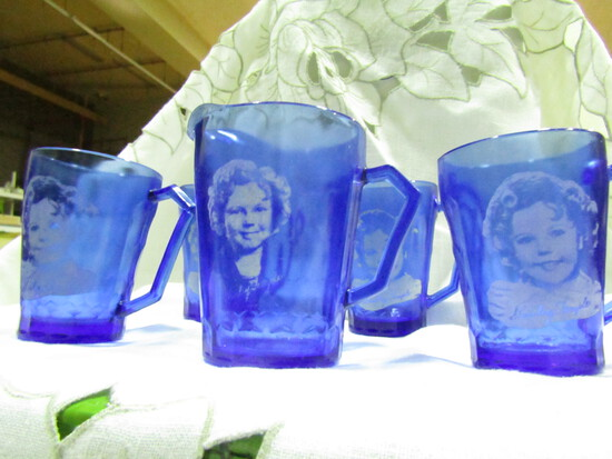 Vintage Cobalt Shirley Temple Cups and Pitcher Set