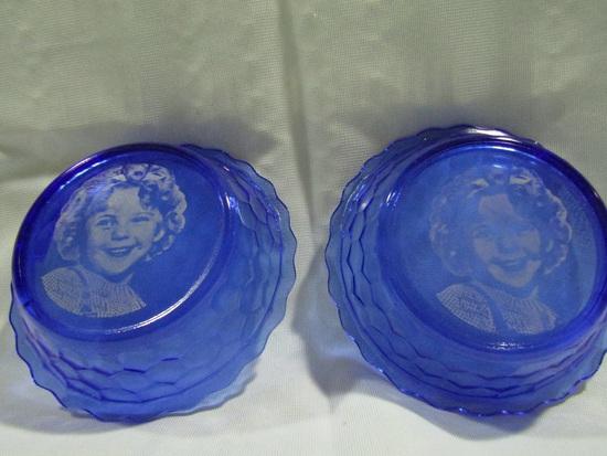 Vintage Cobalt Shirley Temple Bowls