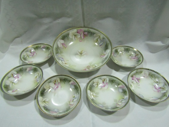 Vintage R S Bowl and 6 Dish Set, Germany