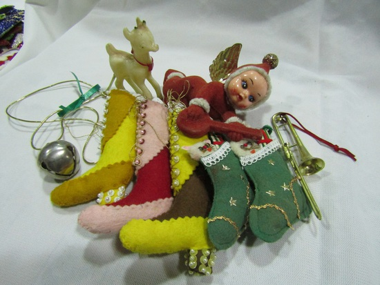 Vintage Christmas Ornaments with Felt and Celloid Angel