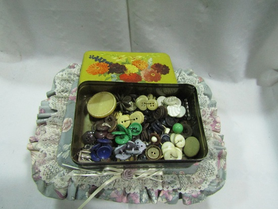 Vintage Sewing Basket, Tin, Buttons
