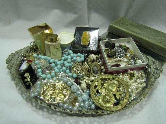 Vintage Mirror Vanity Tray and Jewelry