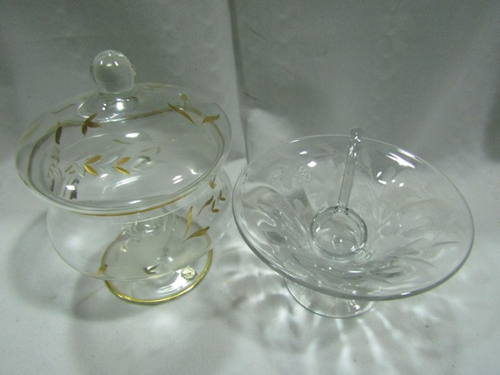Made in Romania Bowl with Lid and Etched Bowl with Laddle