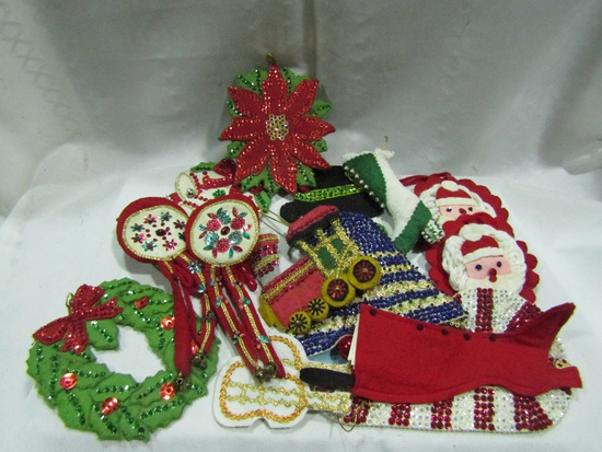 Vintage Christmas Ornaments, Felt and Sequence