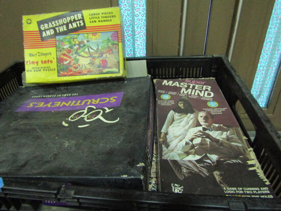 Vintage Games including Grasshopper and the Ants, Mastermind, Scrutineyes