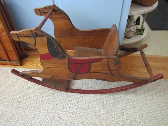 "Vintage Childs Wood Rocking Horse, 19 x 34 x 13"""