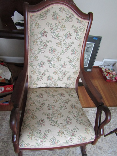 Antique/Vintage Carved Swan Rocker Chair