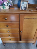 Vintage Wood Dresser, 5 Drawer and Wardrobe Section, 41 x 37 x 16