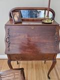 Antique/Vintage Wood Desk, Fold Down Front, 1 Drawer, Dovetail