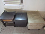 Lot of 3 Vintage Foot Stools, 2 with Storage