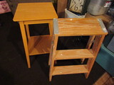 Vintage Wood End Table and Step Stool/Ladder
