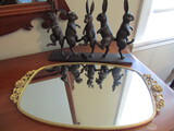 Vanity Mirror Tray and Rabbit Sculpture with damage