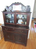 Vintage China Cabinet with Mirror, Contents Not Included
