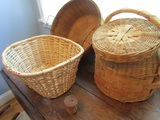 4 Vintage Baskets, Mini and Large with Lids