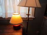 2 Vintage Lamps, Floor Brass Tone and Table Pottery Lamp