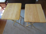 2 Folding Wood TV Tray Stands
