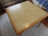 Vintage Folding Wood Card Table, Padded Top, Automatic Opening Legs