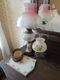 Antique/Vintage Nippon Porcelain Vanity Tray, 2 Lamps, Flower Painting