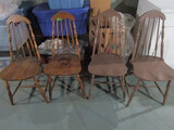 4 Vintage Wood Dining Chairs, 2 Have Been Painted