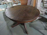 Antique/Vintage Wood Round Table, 4 Footed