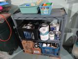 Shelf Unit and Contents, Paints, Tapes