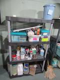 Shelf Unit and Contents, Paints, Paint Tools