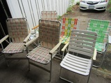 6 Folding Lawn Chairs, 1 Rocking Chair