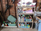 Shelf Unit with Contents, Garden, Cutters, Gloves, Basket Holders