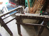 2 Wood Saw Horses and Bin Of Wood/ Stakes