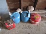 4 Fuel Cans, 1 Gas, 2 Kerosine, 1 Coleman with Fuel