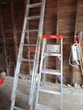 Lot of 2, Werner 14' Extension Ladder and Step Ladder, Aluminum
