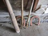 Vintage Double Ringer Horse Shoe Set and 125 Louisville Slugger Wood Bat